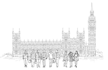 houses of parliament   london: Big Ben and Houses of Parliament with tourists silhouettes, London UK. Sketch collection