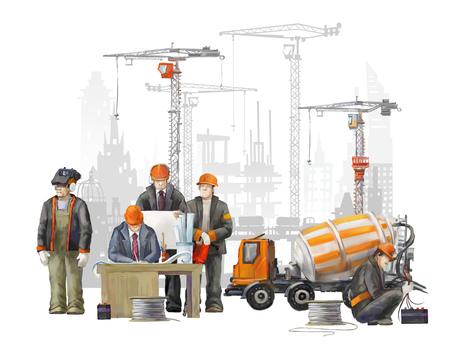 hombres trabajando: Constructores en la obra. Ilustración industrial con los trabajadores, grúas y la máquina hormigonera