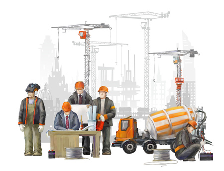Builders on the building site. Industrial illustration with workers, cranes and concrete mixer machine