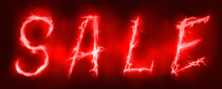 lighting effect: Sale sign Abstract background made of Electric lighting effect Stock Photo