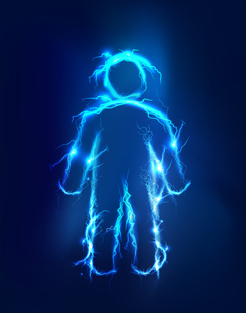 man abstract: Man, Abstract background made of Electric lighting effect Stock Photo