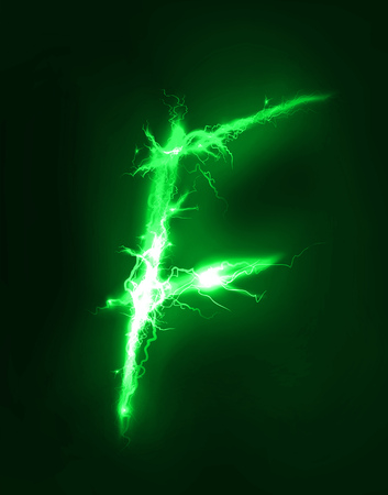 thunder storm: Alphabet made of green electric lighting, thunder storm effect. ABC Stock Photo
