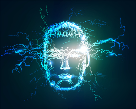 Human face, Abstract background made of Electric lighting effect