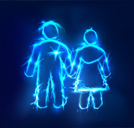 Man and woman, Couple. Abstract background made of Electric lighting effect