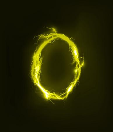 illuminated: Alphabet made of electric lighting, thunder storm effect. ABC