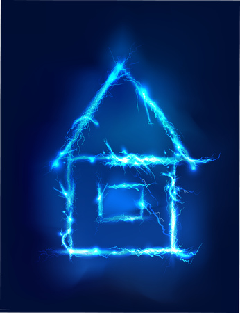 woman shock: House, Abstract background made of Electric lighting effect