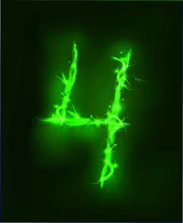 thunder storm: Numbers made of electric lighting, thunder storm effect.