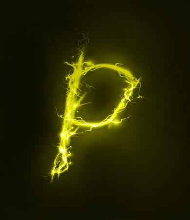 thunder storm: Alphabet made of electric lighting, thunder storm effect. ABC