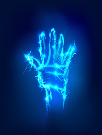 hand raised: Hand raised up, Abstract background made of Electric lighting effect Stock Photo