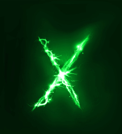 electric storm: Alphabet made of electric lighting, thunder storm effect. ABC