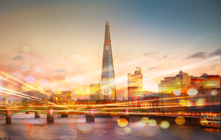 city traffic: Shard of glass at the River Thames and traffic lights reflection, London Stock Photo