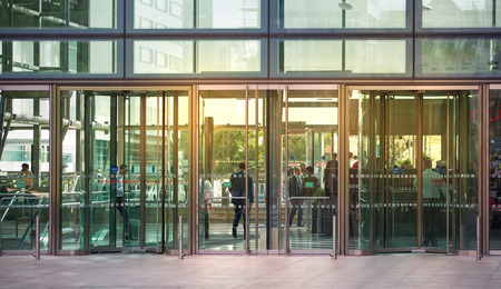 office building: LONDON, UK - SEPTEMBER 9, 2015: Entrance to the office building Editorial