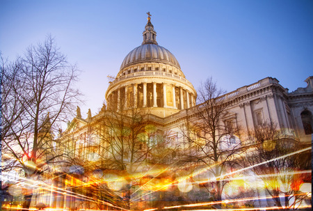 british touring car: City of London. St. Paul cathedral in the dusk Stock Photo