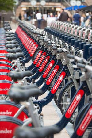bike parking: Bike parking line in Canary Wharf, London Editorial