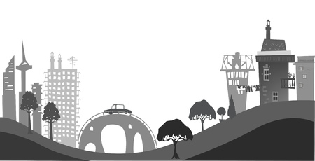 junction pipe: City on the hills, illustration Stock Photo