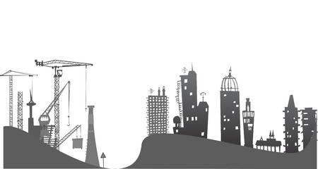 junction pipe: City on the hills, illustration with cranes and construction site