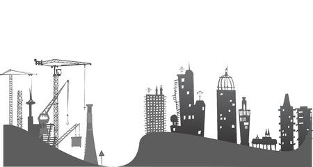 infraestructura: Ciudad en las colinas, la ilustración con grúas y emplazamiento de la obra
