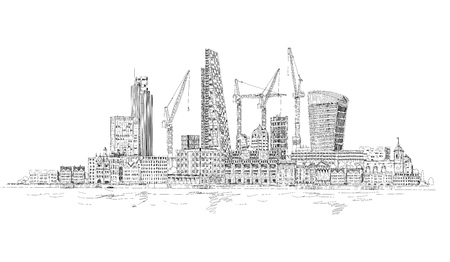 Modern London view from the River Thames, very detailed Illustration with lots of cranes and building construction sites