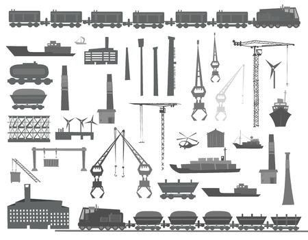 terminal: Trains, ships, cranes, cargo transportation set.  Heavy industry concept set