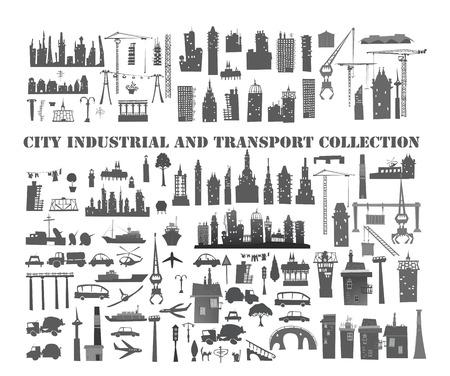 infraestructura: Gran ciudad, conjunto industrial y de transporte Vectores
