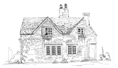 old houses: Old english stone cottage, sketch collection Illustration