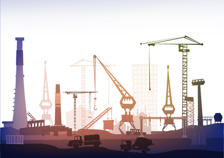 heavy industry: Factory illustration. Heavy industry concept