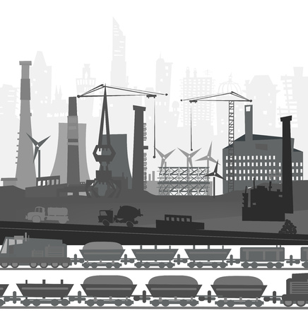 though: Train running though the city. Heavy industry concept illustration Illustration