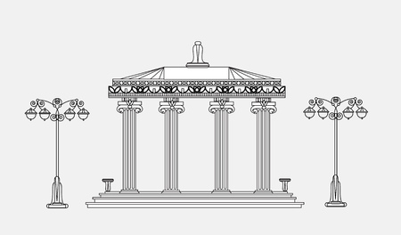 detail: Architectural detail with classic columns. Detailed editable doodle Illustration