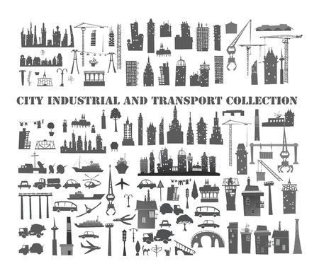junction pipe: Big city set, buildings, houses, transport and industrial units set Stock Photo