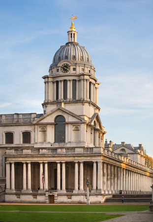 modern building: LONDON, UK - OCTOBER 31, 2015:  Painted hall at sunset, south of London, Classic Architecture of British empire period