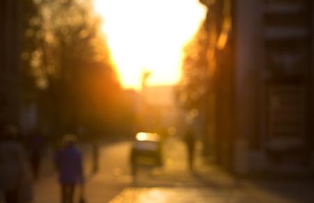sunset city: City street blur at sunset, London Stock Photo