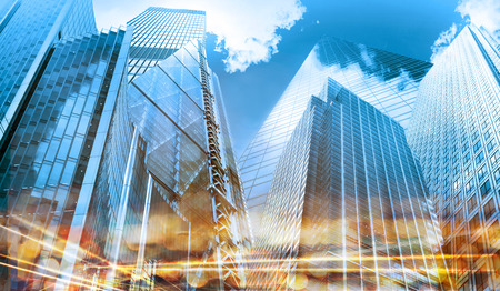 Business background made of Modern glass buildings
