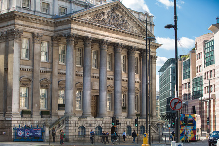old street: LONDON UK - SEPTEMBER 19, 2015: Bank of England street view with old building Stock exchange and offices Editorial