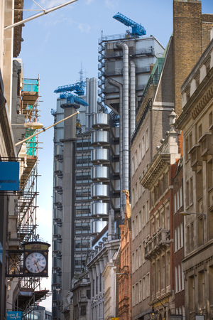 lloyd's of london: LONDON UK - SEPTEMBER 19, 2015 - Lloyds of London bank building, famous texture. City of London