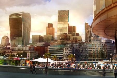 corporative: LONDON UK - SEPTEMBER 19, 2015 - City of London view, modern buildings of offices, banks and corporative companies