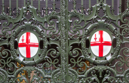 England arm on the gate of Royal stock exchange