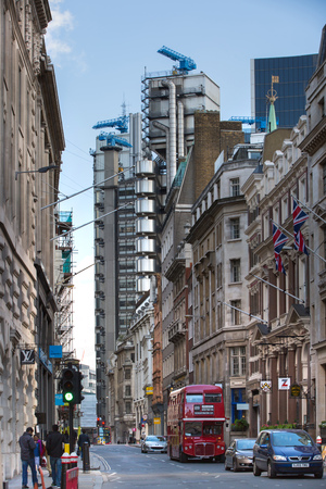 lloyd's of london: LONDON UK - SEPTEMBER 19, 2015: Bank of England street view with Lloyds building