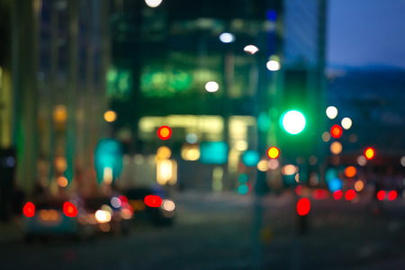 for designers: Blurred background of night city with lots of lights reflections. Template for designers projects Stock Photo