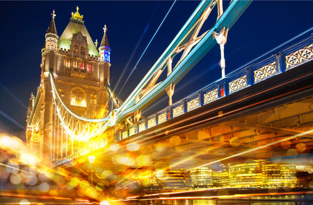place of work: Night view of Tower bridge with traffic lights reflections