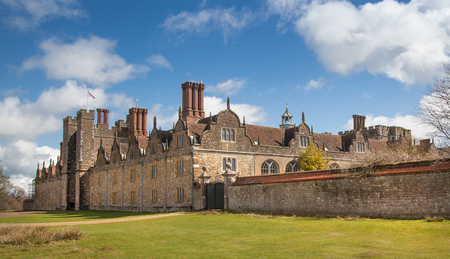 SUSSEX, UK - APRIL 11, 2015: Sevenoaks Old english mansion 15th century. Classic english country side house