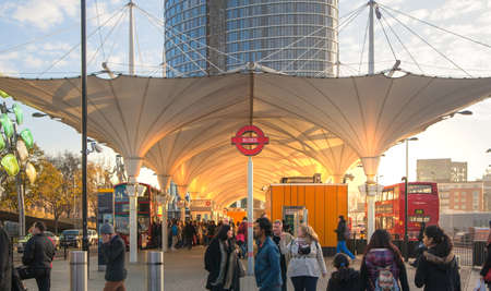 tube station: LONDON, UK - NOVEMBER 29, 2015: Stratford international train and tube station, one of the biggest transport junction of London and UK. Main hall with lots of people