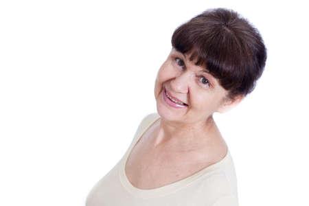 good looking woman: Portrait of elderly good looking woman Stock Photo