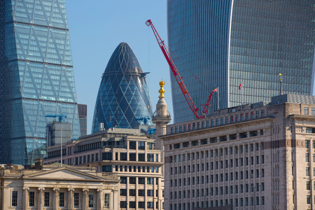 shard of glass: LONDON, UK - SEPTEMBER 10, 2015: City of London view from the river Thames Editorial