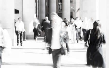 lots people: LONDON UK - SEPTEMBER 10, 2015: City of London lunch time. Lots of office people walking on the street. People blur