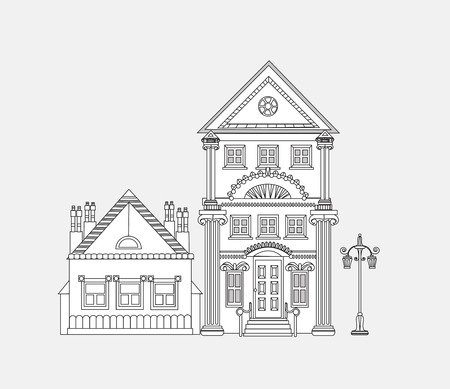 old houses: Doodle of beautiful city house. City background