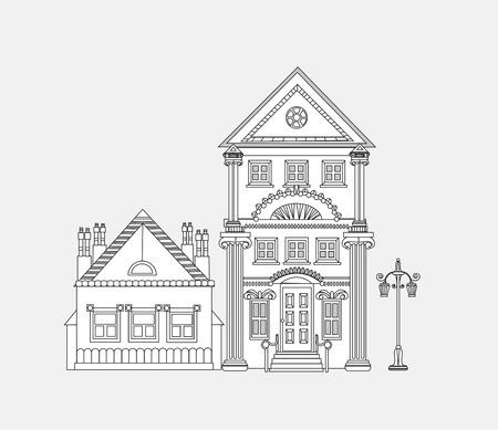 city background: Doodle of beautiful city house. City background