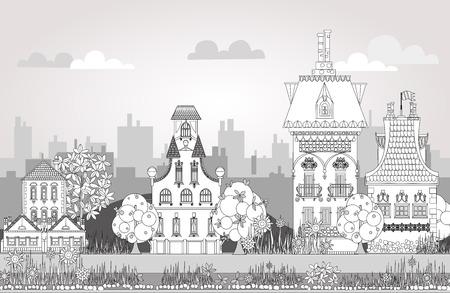 boceto: Doodle de la hermosa ciudad con casas muy detalladas y de la ciudad adornada, árboles y faroles. fondo de la ciudad