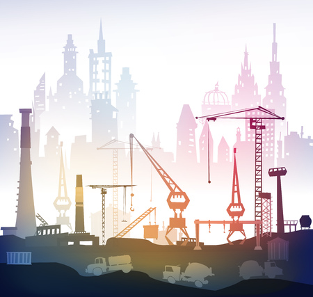 industrial industry: Industrial site view with cranes. Heavy industry concept