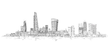 london skyline: City of London sketch illustration. Business background