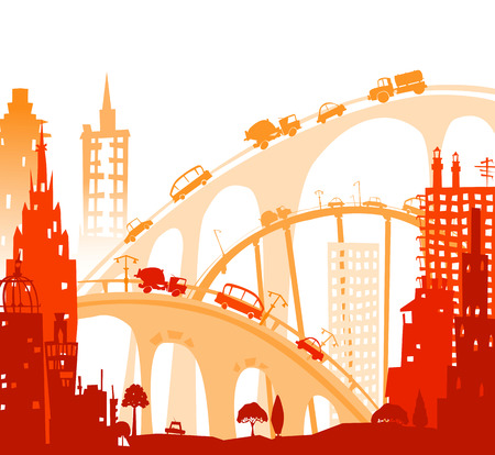 busy city: City background. Cars and busy roads